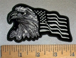 4706 CP - Bald Eagle And American Flag - Left Side - Black And White - Embroidery Patch