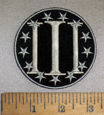4707 CP - 3% Surrounded By Silver Stars - Round - Embroidery Patch
