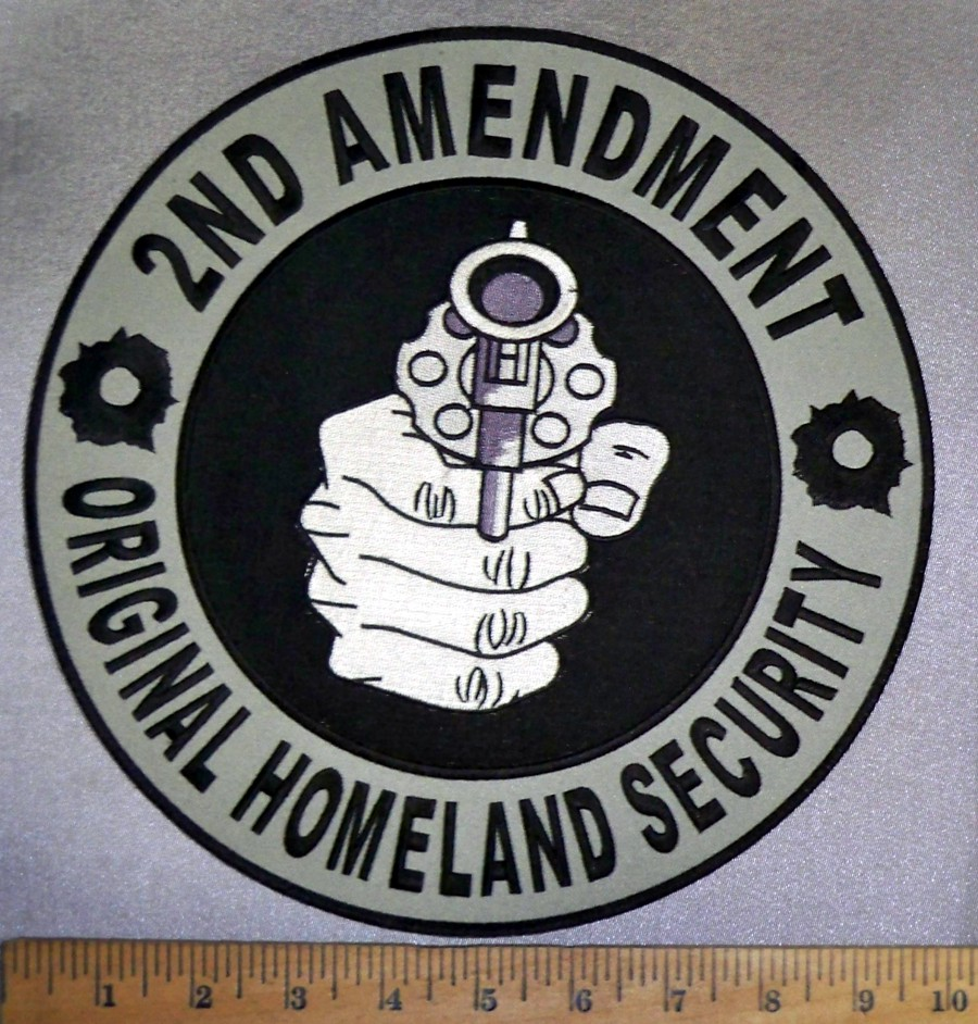 4730 cp 2nd amendment original homeland security hand 4730 cp 2nd amendment original homeland security hand holding pistol round back patch embroidery patch buycottarizona