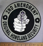 4730 CP - 2nd Amendment - Original Homeland Security - Hand Holding Pistol - Round - Back Patch - Embroidery Patch