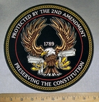 4732 CP - Protected By The 2nd Amendment - Preserving The Constitution - Bald Eagle With Two Pistols - Round - Back patch - Embroidery Patch