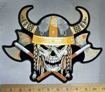 4733 CP - Viking Skeleton With Viking Hat And Two Axes' - Back Patch - Embroidery Patch