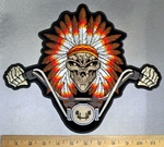 4734 CP - Indian Skull Rider Wearing Full Indian Headdress Riding Motorcycle - Back Patch - Embroidery Patch