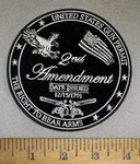 4738 CP - United States Gun Permit - The Right To Bear Arms - 2nd Amendment - Date Issued 12/15/1791 - Eagle - American Flag - 2 Guns - Round - Embroidery Patch