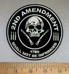 4739 CP - 2nd Amendment - Shall Not Be Infringed - Skull with 2 Rifles - Round - Embroidery Patch