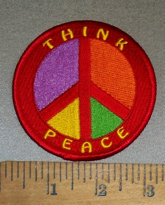 4741 N - Think Peace - Multi Colored Peace Sign - Round - Embroidery Patch