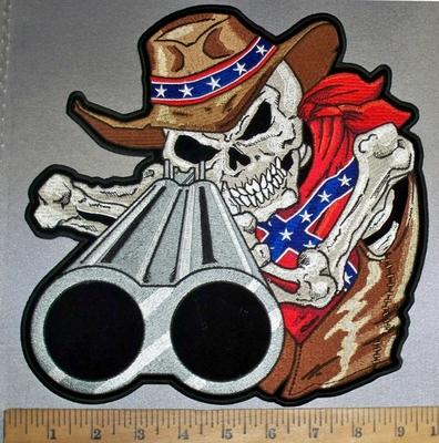 4743 CP -  Skeleton Wearing Confederate Cowboy Hat - Confederate Bandana - Aiming Shotgun - Back Patch - Embroidery Patch