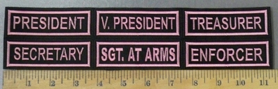 4745 L -Set Of Officer Patches - Pink - Set Of 6 - Embroidery Patch
