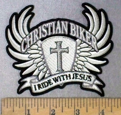 4746 CP - Christian Biker - I Ride With Jesus - Cross With Angel Wings - Embroidery Patch