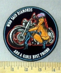 4748 CP - Who Said Diamonds - Are A Girls Best Friend - Biker Chick With Motorcycle - Round - Embroidery Patch