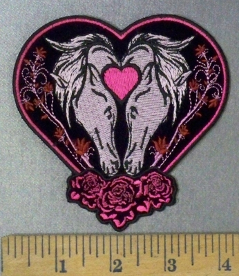 4757 CP - Two Horses Within Heart - Roses - Embroidery Patch