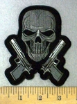 4763 CP - Skull Face With 2 Glock Guns - Embroidery Patch