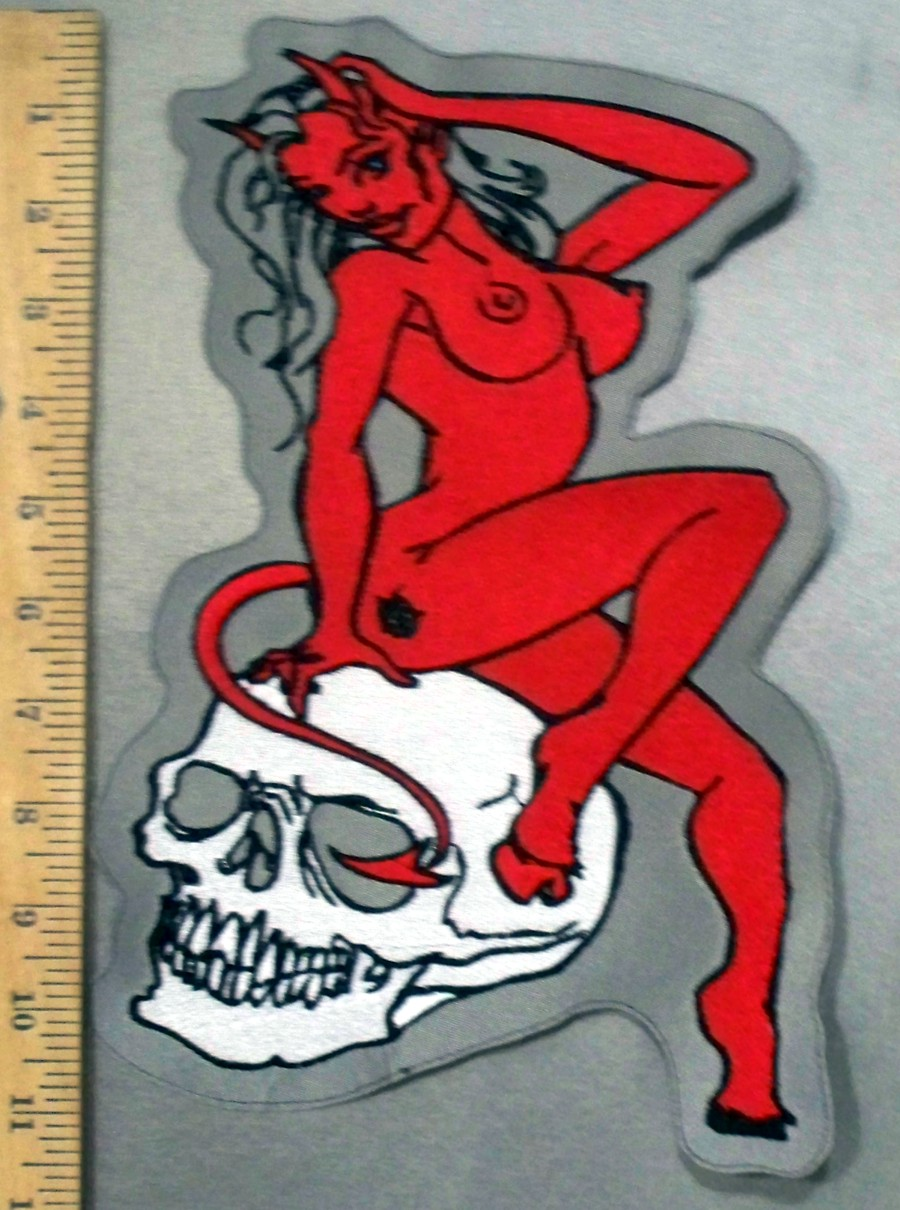 4780 l red she devil on skull head back patch for She devil tattoo