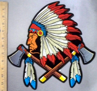 4781 CP - Native American Indian Chief With Full Head Dress And 2 Axe With Feathers - Back Patch - Embroidery Patch
