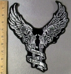 4789 N - Two Guns With Angel Wings On Handle - Loaded & Ready On Flowing Ribbon - Back Patch - Embroidery Patch