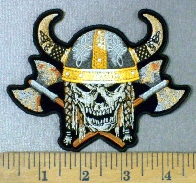 4795 CP - Viking Skull With 2 Axe and Helmet - Embroidery Patch