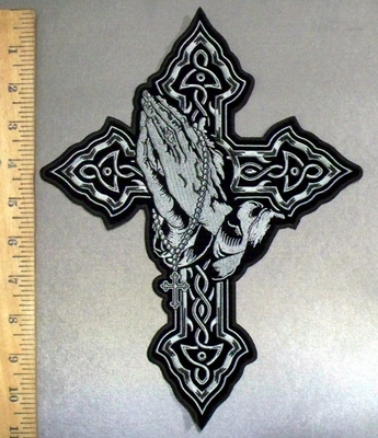 4799 CP - Cross With Praying Hands Holding A Rosary - Back Patch - Embroidery Patch