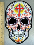 4800 CP - Colorful White Sugar Skull With Red Celitc Cross On Forehead - Back Patch - Embroidery Patch
