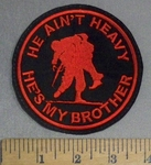 4808 L - He Ain't Heavy - He's My BROTHER -Soldier Carrying Wounded Soldier- Round - Red - Embroidery Patch