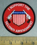 4809 S - I Support The Second Amendment - Red - Round - Shield With 2 Guns - Embroidery Patch