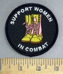 4810 S - Support Women In Combat - Camo Colored Boots With Pink Laces - Round - Embroidery Patch