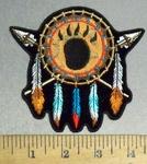 4812 CP - Bear Claw Dream Catcher With Feathers - Embroidery Patch