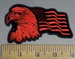 4820 CP - Eagle With American Flag - Red - Left Side - Embroidery Patch