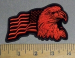 4821 CP - Eagle With American Flag - Right Side - Red - Embroidery Patch