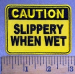 4832 CP - CAUTION - Slippery When Wet - Yellow - Embroidery Patch