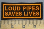 4853 L - Loud Pipes Saves Lives - Orange - Embroidery patch