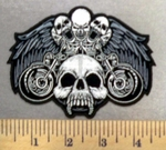 4861 CP - Laughing Skulls - Angel Wings - 2 Motorcycles - Embroidery Patch