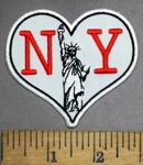 4865 CP - NY With Statue Of Liberty - Heart Shaped - Embroidery Patch