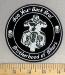 4866 CP - Got Your Back Bro! Brotherhood Of Bikers - Man Riding Motorcycle - Round - Embroidery Patch