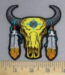 4868 CP - Desert Skull With 2 Feathers - Embroidery Patch