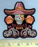 4869 CP - Mexican Biker - Skullface With Sambrero Hat - 2 Motorcycles - Embroidery Patches
