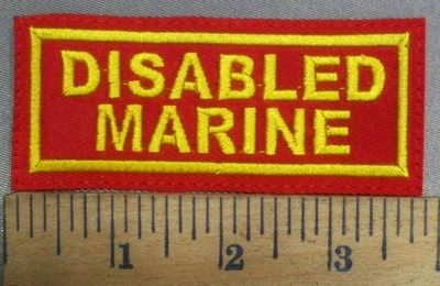 4874 L - Disabled Marine - Red With Yellow Letters - Embroidery Patch