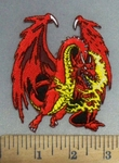 4889 N - Dragon Breathing Fire - Embroidey Patch