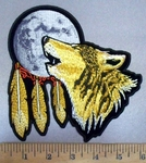 4890 CP - Howling Wolf With Moon Dream Catcher - Embroidery Patch