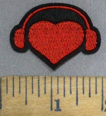 4894 C - Red Heart With Music Headphones -Embroidery Patch