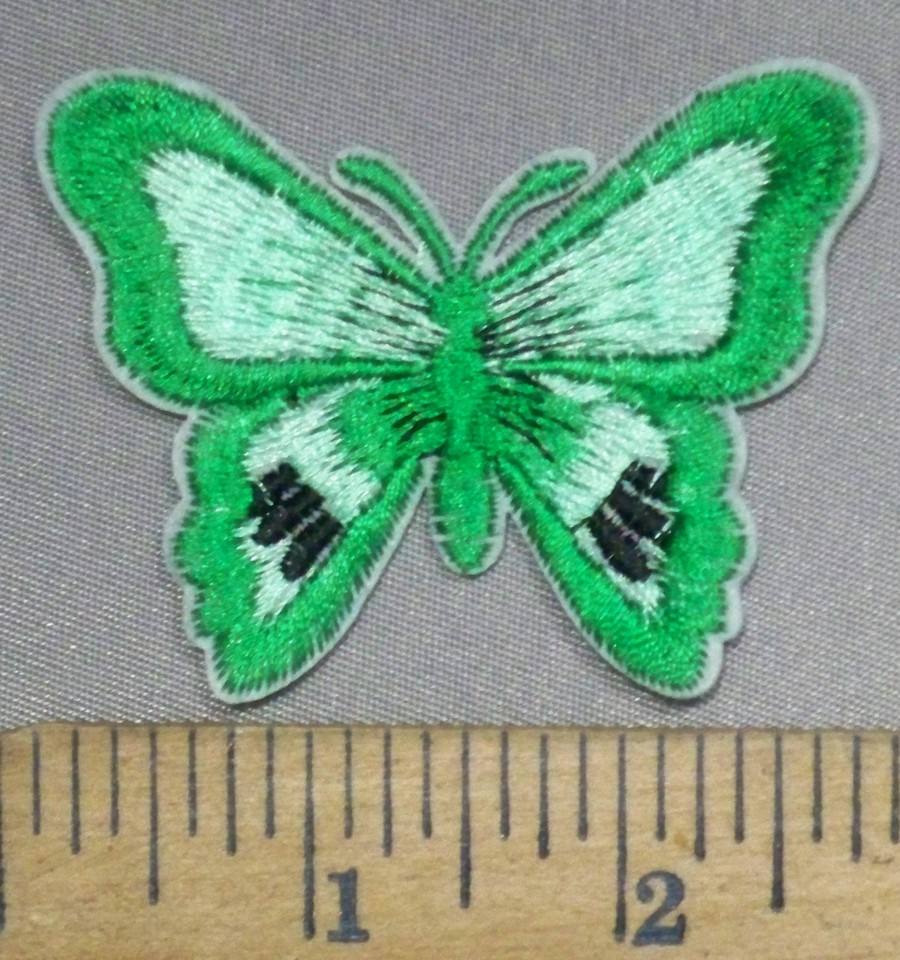 C back ordered green butterfly embroidery patch