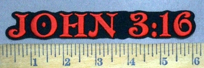 4918 W - JOHN 3:16 - Red - Embroidery Patch