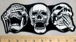 4926 CP - See No Evil - Hear No Evil - Speak No Evil -  Laughing Skull Faces - Embroidery Patch