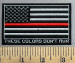 4949 CP - Black And Gray American Flag With Red Line - These Colors Don't Run - Firefighter - Embroidery Patch