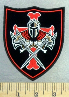 4950 CP - Knight Templar With 2 Swords On A Shield - Embroidery Patch