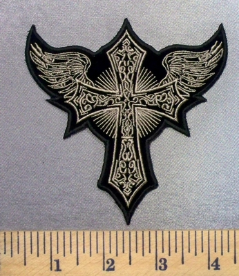 4951 CP - Cross With Angel Wings - Embroidery Patch