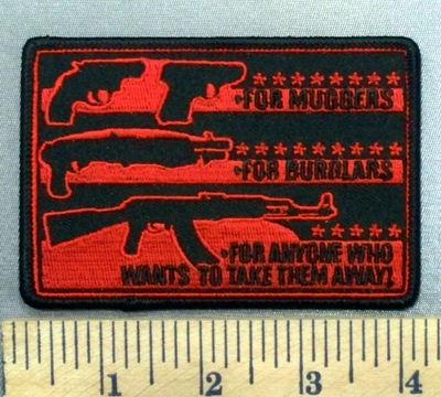 4956 G -Pictures And Gun Description Of What Gun To Use For Muggers, For Burglars And For Anyone Who Wants To Take Them Away! - Embroidery Patch