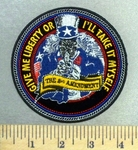 4965 CP - Give Me Liberty Or I'll Take It Myself - Uncle Sam Skullman - Pointing a Gun - Round - Embroidery Patch