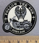 4966 CP - Follow The Son - John 3:16 - Motorcycle And Image Of Jesus On Cross With Angel Wings - Round - Embroidery Patch