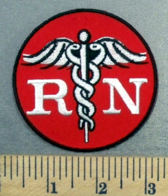 4980 G - RN With Nursing Medical Logo - Red - Embroidery Patch