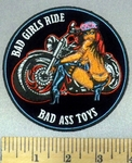 4996 CP - Bad Girls Ride Bad Ass Toys - Biker Chick With Motorcycle - Round - Embroidery Patch